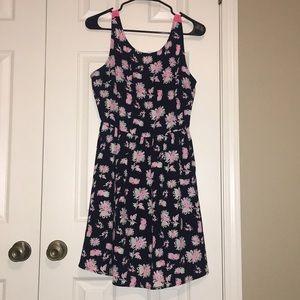 Dresses & Skirts - Black Sundress with Pink Ladder Back Detail